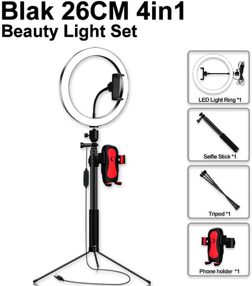 Phone Holder for Video Shooting Fill Light 10 inches LED Ring Light Makeup YouTube Video Light Dimmable LED Lighting Kit with 193CM Light Stand Portraiture