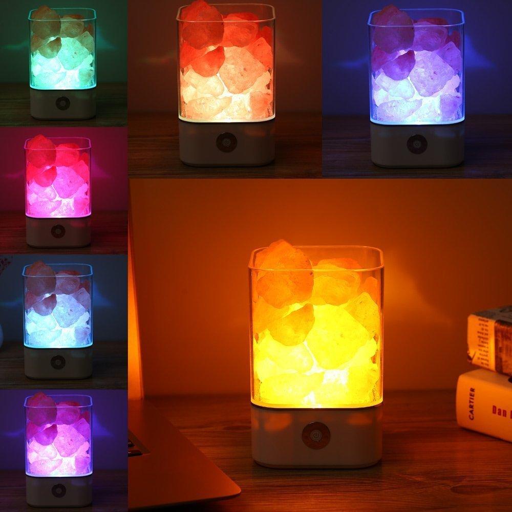 NEWBKO Himalayan Salt Lamp, Crystal Salt Lamp,Natural Air Purifying Dimmable Pink Salt Rock Crystal Amber LED Desk Night Light, Crystal Salt Lamp,with Adjustable 7 Colors Dimmer Control