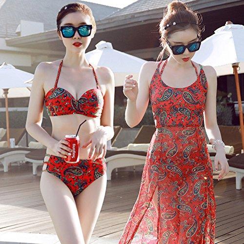 YUPE Hot spring Badeanzug Weiblich 3 teiliger Satz an Vintage Mode bikinis Kleider kleider Bademode Mädchen am Strand