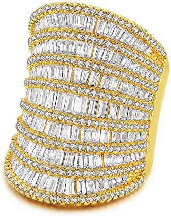 Redbarry Baguette Band Round Cubic Zircon CZ Diamond 18K Yellow Gold Plated Wide Cocktail Rings