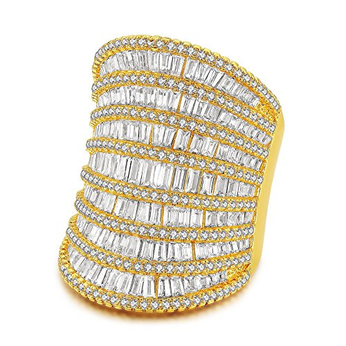 Redbarry Baguette Ring Band Round Cubic Zircon CZ Diamond 18K Yellow Gold Plated Wide Cocktail Rings, Size 8 Pave Wide Band