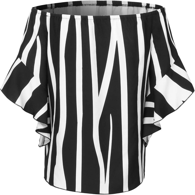 ZANZEA Damen Schulterfrei 3//4 Arm Freizeit Party Strand Lose Tops Shirt Bluse
