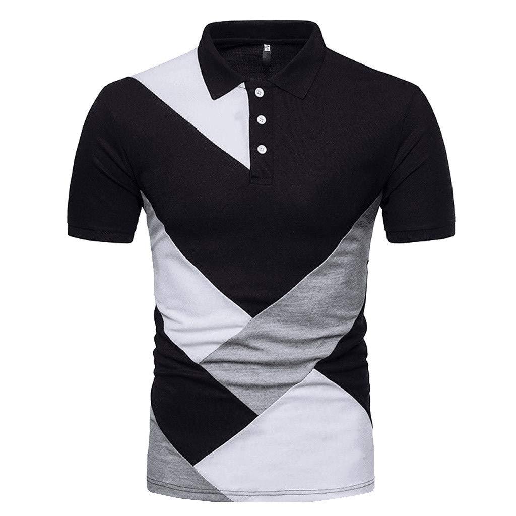 Vickyleb Mens Polo Shirts Short Sleeve Tops Casual Patchwork Pocket Shirt Male Splicing Slim Fits T-Shirts (S1, S) by Vickyleb Summer Shirts