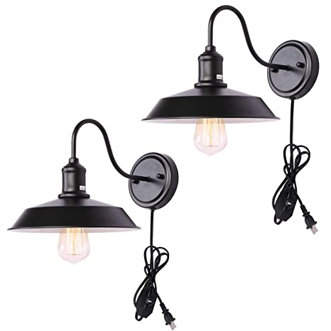 Kingmi Dimmable Wall Lamp Black Vintage Farmhouse Sconce Lighting Gooseneck Light Fixture With