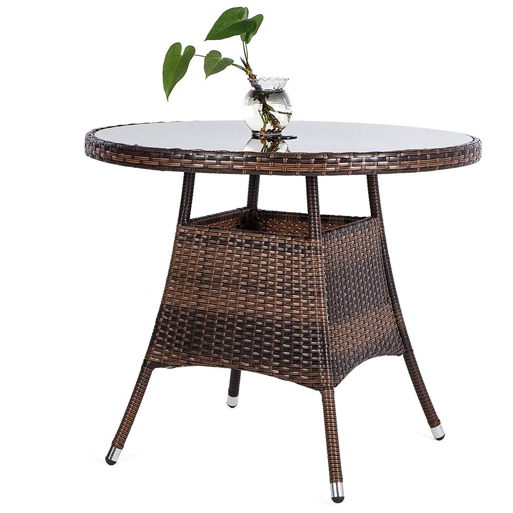 LUCKUP 36'' Round Patio PE Brown Wicker Dining Table Tempered Glass Top Umbrella Stand Table Outdoor Furniture Garden Table for Backyard Pool Balcony Porch,Brown