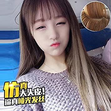 Amazon.com Woman with long straight hair wig Korean pop red