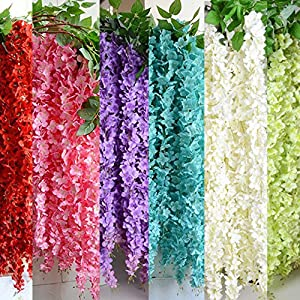 e-Joy Realistic Artificial Silk Wisteria Vine Ratta Silk Hanging Flower Plant for Home Party Wedding Decor and Other Various Events, 12 Pieces, 3.6 Feet Each Light Blue 4