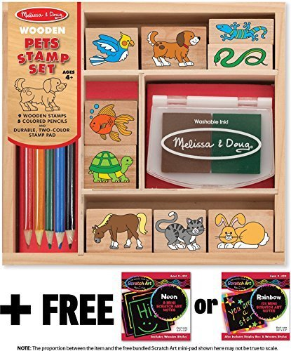 Pets: Wooden Stamp Set + FREE Melissa & Doug Scratch Art Mini-Pad Bundle [93637]