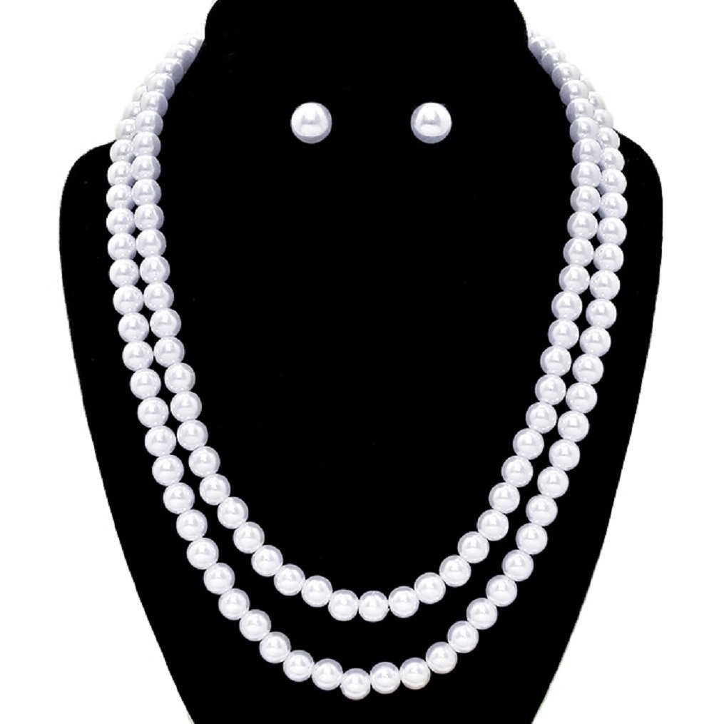 Shoppe23 Two Strand Pearl Necklace Stud Earring Set Elegant 19-20'' Long (White 8mm)