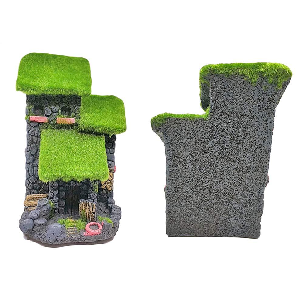 Fairy Garden Craft CFPacrobaticS Juego De Peces Huecos De Resina Moss Bridge Tree House Hiding Cave Aquarium Ornament Handmade Home Desktop Decor 2#