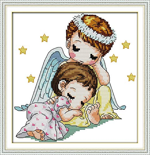 Zamtac Cartoon Style Guardian Angel Counted Cross Stitch Patterns for Kids Room Ornament - (Cross Stitch Fabric CT Number: 11CT Printed)