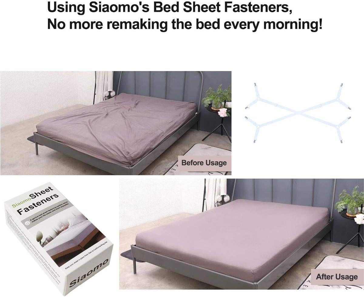 Nero Bretelle di fissaggio per lenzuola cinghie elastiche regolabili Long-sheet-grippers-Black plastica