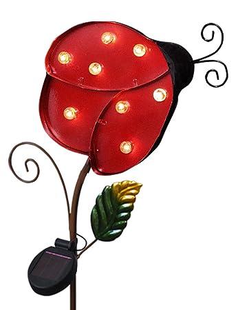 Wonderful BRIGHT ZEAL 9.5u0026quot; Large METAL Ladybug LED Solar Lights Outdoor LED  Outdoor   Red Ladybug