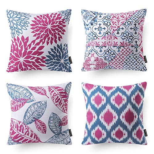 Phantoscope Set of 4 New Living Series Decorative Double Side Throw Pillow Case Cushion Cover Blue and Purple 18