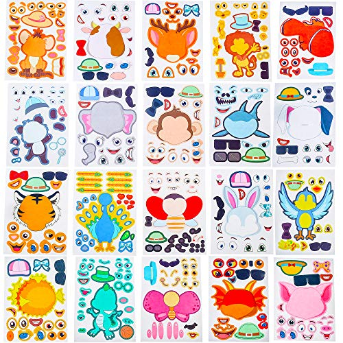20 Zoo - Make Your Own Stickers Make a Face-20 Pack Zoo Animals, Sea Creature, Dinosaur and More -Great for Kids, as Gift of Festival Instead of Snacks. Great for Parties, School Time.