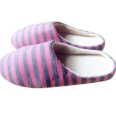 ddbb3d977fb OuYou Japanese Style Minimalist Mute Stripe Design Cotton Indoor Slippers  Non Slip Sole Machine Washable Stripe Decor Closed Toe Slippers Comfortable  ...