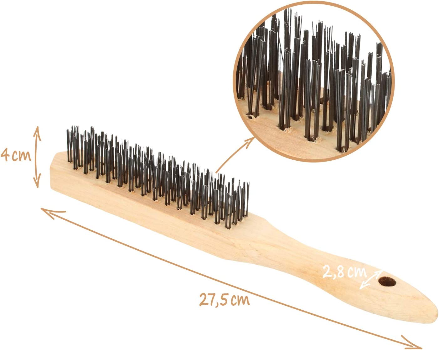 3-piece - wooden handle Steel brush with wooden handle wood and steel com-four/® 3x Hand Wire Brush Wire brush for machining metal
