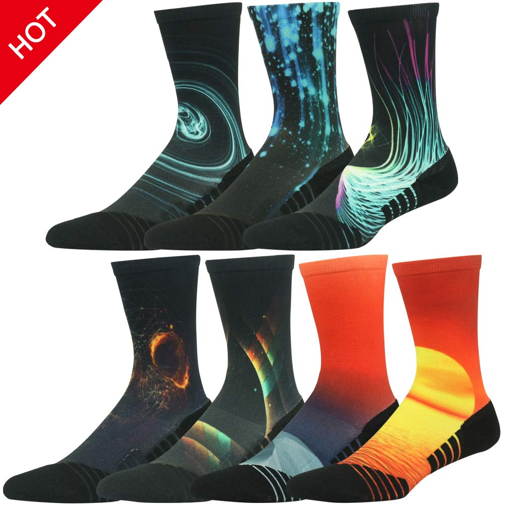 HUSO Men's Women's Youth Galaxy Colorful Athletic Crew Socks Seamless Light Cushion Mid Calf Crew Gift Socks 7 Pairs (Multicolor, L/XL)