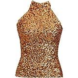 Blingstory Off Shoulder Dance Halter Top Performance Turtleneck All Sequins Embellished Sparkle Vest Tank Tops 6