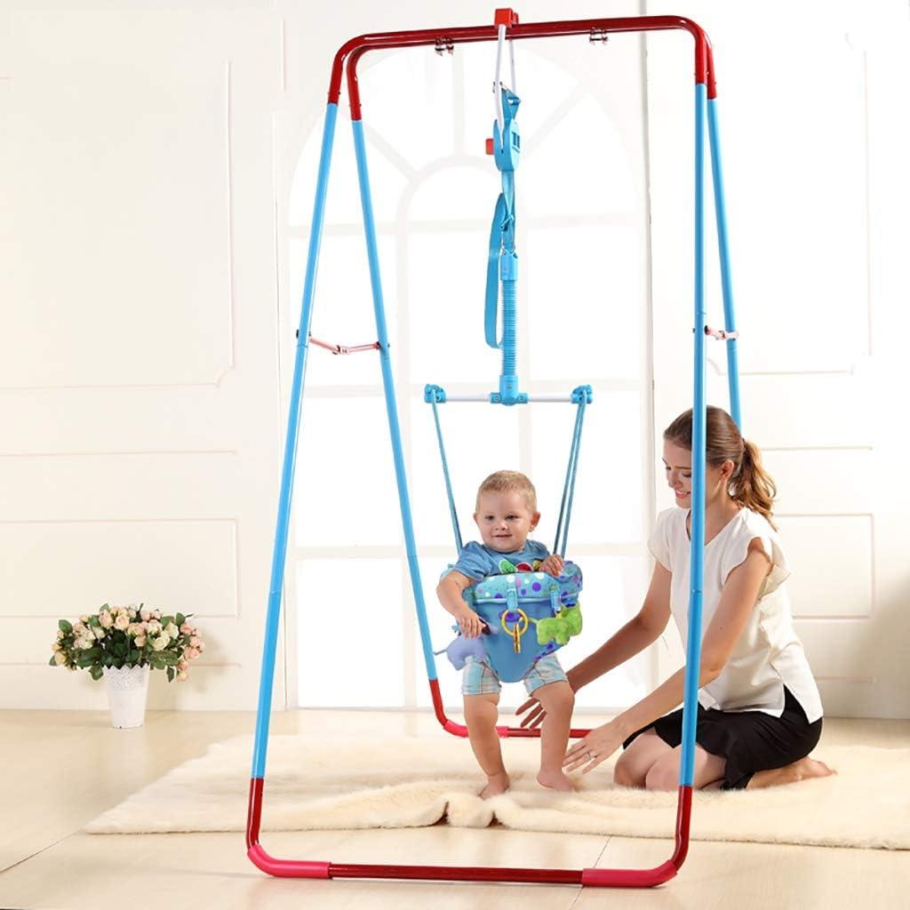ベビージャンパー ブラケット付きベビードアジャンパー、赤ちゃんバウンスは戸口のジャンパー赤ちゃんのためにジャンプウォークエクサ屋内、屋外、青、138 * 110 * 190センチメートルラックハングジャンプシートのフィットネススイング