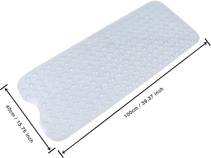 extra largo para de ducha 100 x 40cm Alfombra antideslizante ba/ñera seguridad con ventosas de succi/ón Alfombra de ba/ño Blanco