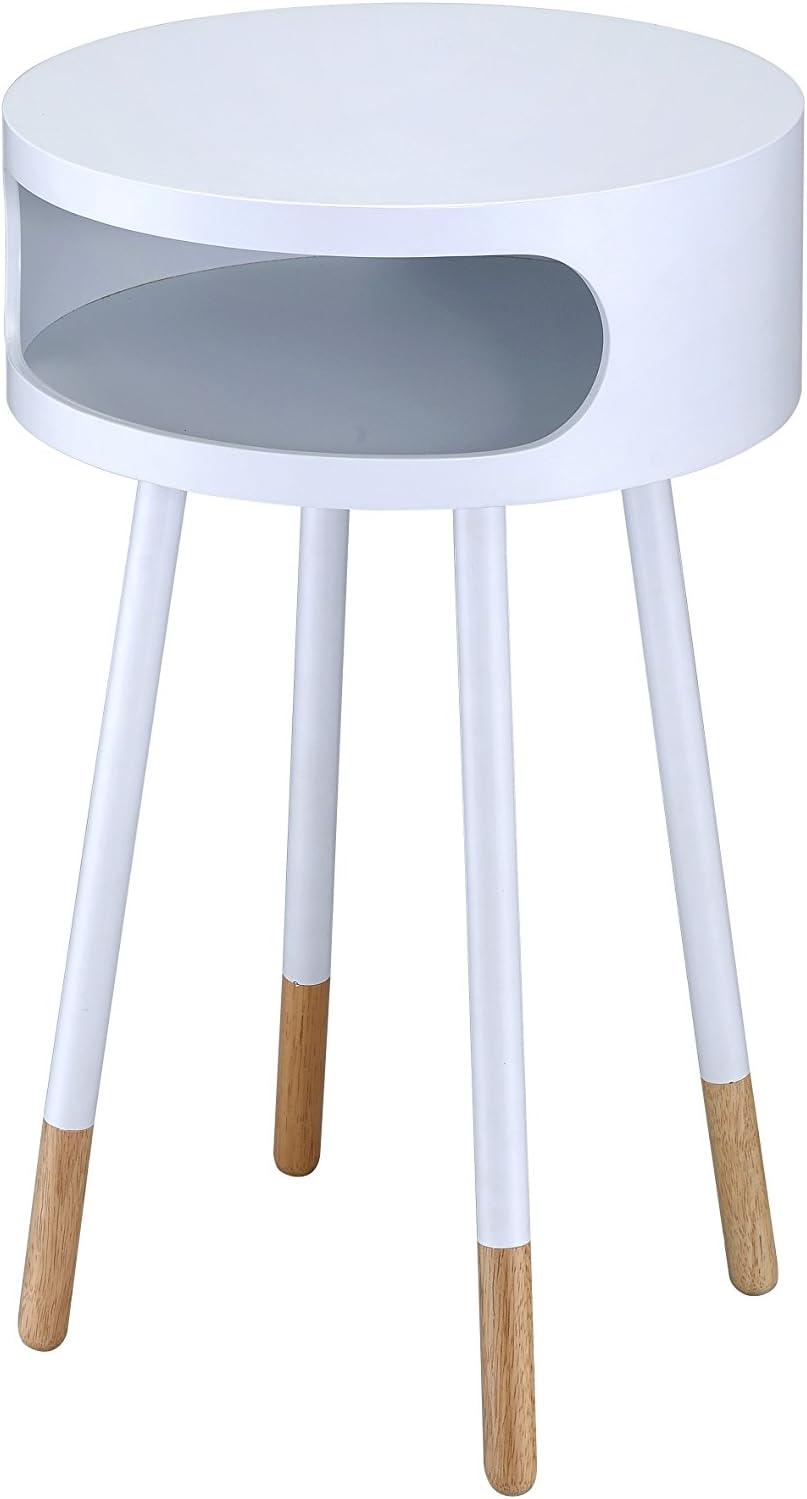 ACME Furniture 84445 Sonria End Table, White/Natural