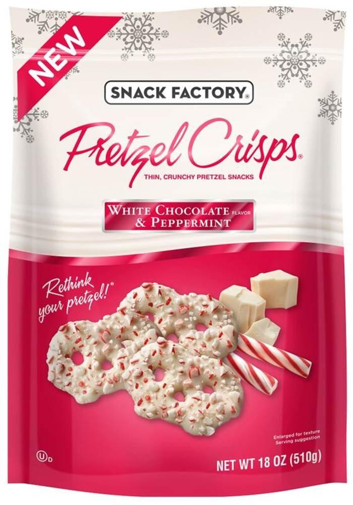 Snack Factory Pretzel Crisps, White Chocolate Peppermint, 18 Ounce