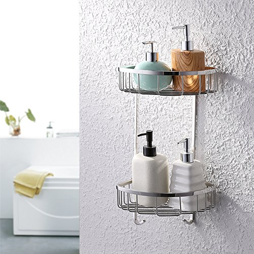 KES Bathroom Triangular Tub and Shower Caddy 2-Tier Wall Mount SUS304 Stainless Steel, Polished Finish, A2123B