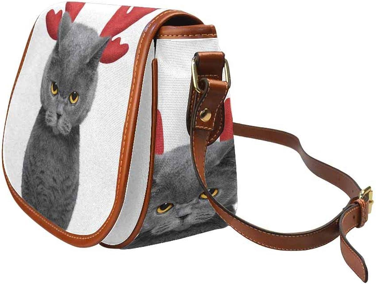 InterestPrint Cute Cat in Reindeer Antlers Casual Ladies Cross Body Hobo Shoulder Bag Travel Purse