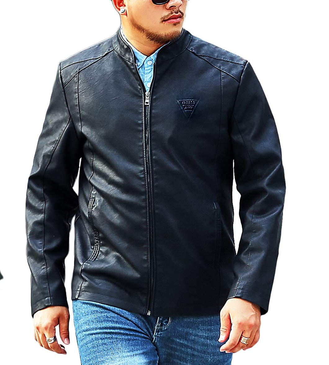bcb5de120bd2 LIERDAR Men s Casual Zip-Up Faux Leather Jacket Outfit at Amazon Men s  Clothing store