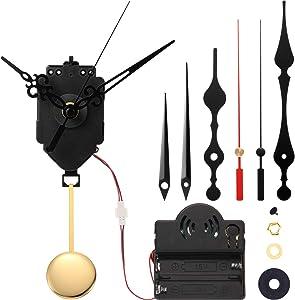 Kit de Reloj de Mecanismo de Melodía Timbre de Movimiento de Reloj Disparador de Péndulo de Cuarzo con 3 Pares de Manos