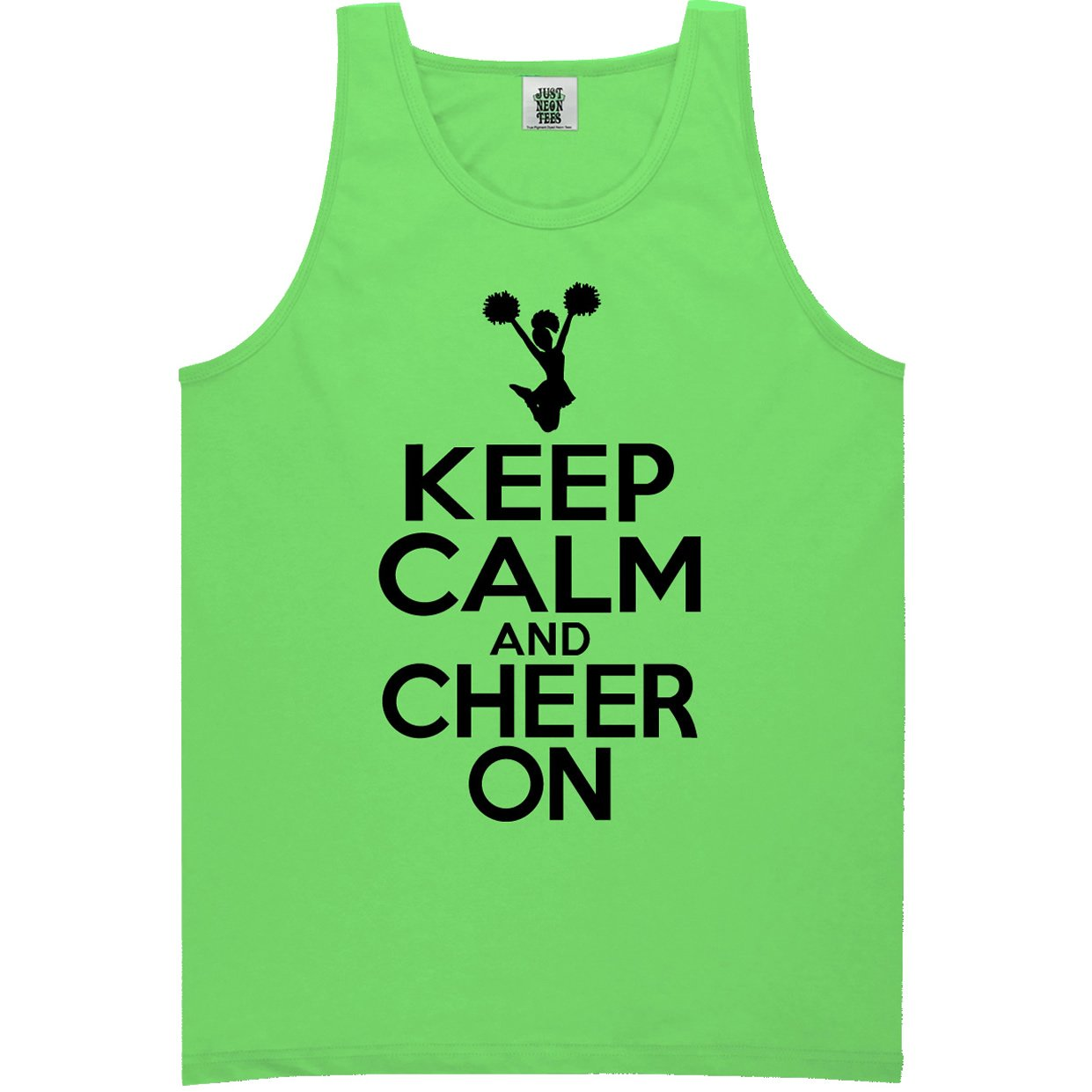Youth Keep Calm and Cheer On Bright Neon Tank Top - 6 Bright Colors PA-YTNEON-68-TK
