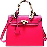 RW Collections Handbag, ALEE Fashion Designer Satchel Purse Crossbody Bag Handbag with Scarf