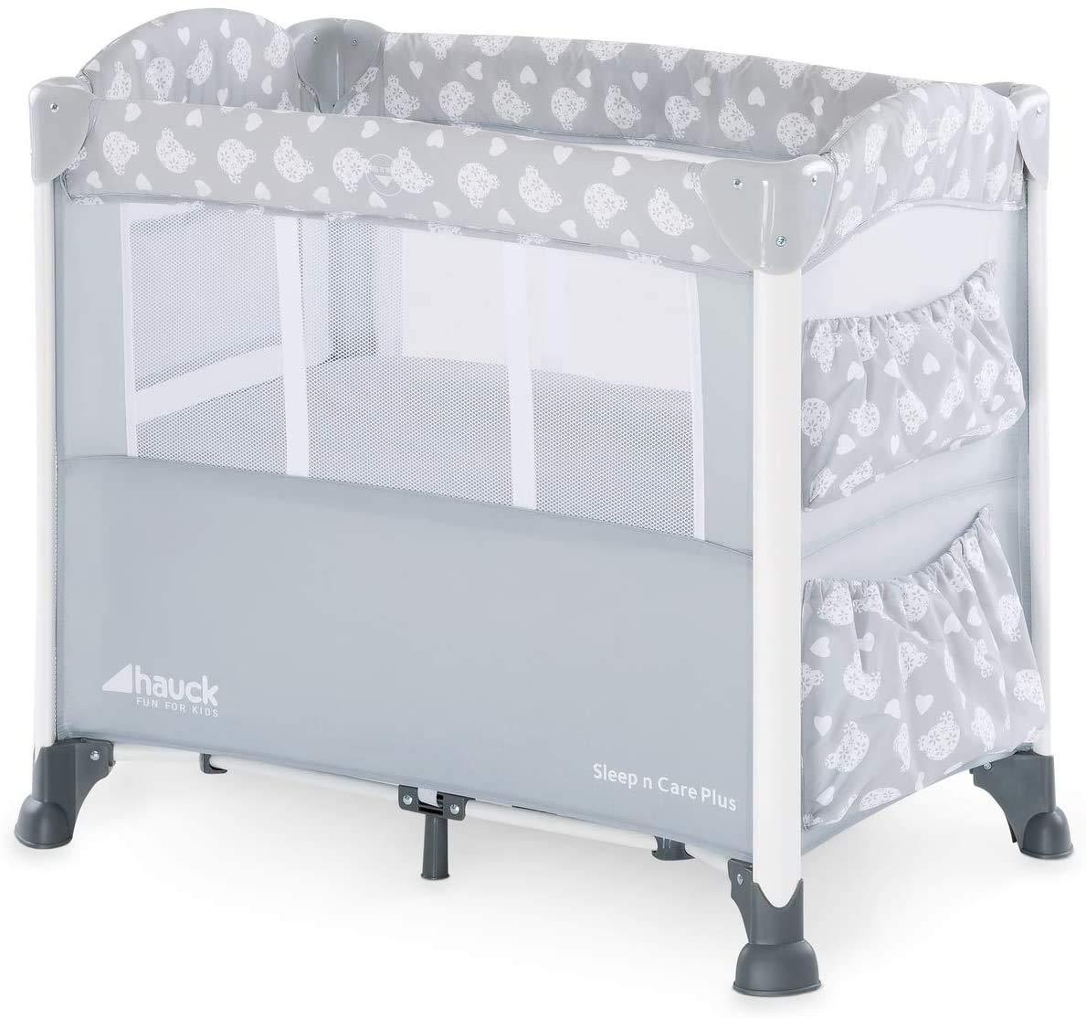 New Hauck Sleep n Care Plus Travel Cot/Bedside Crib - Teddy Grey