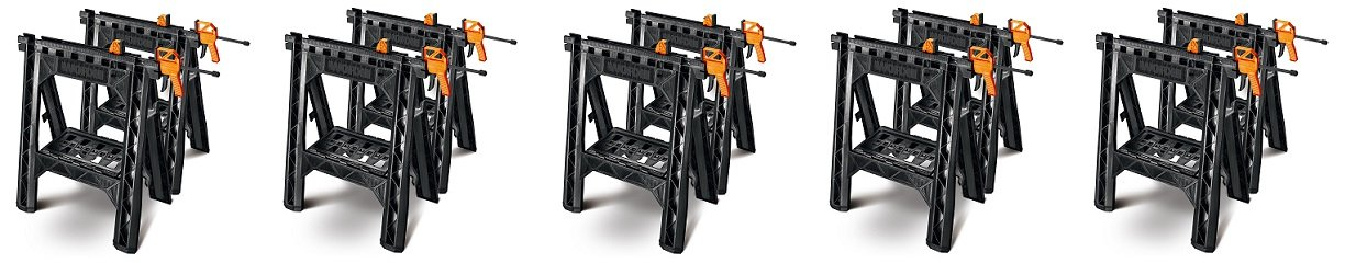 WORX Clamping Sawhorse Pair with Bar Clamps, Built-in Shelf and Cord Hooks – WX065 (5-(Pack))