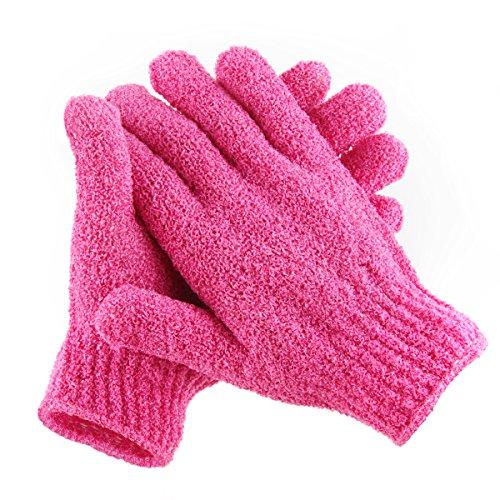 Moonmini 4 Pair Set Scrubbing Exfoliating Glovesx2605; Double Side Durable Nylon Shower Glovesx2605; Body Scrub Exfoliator for Men, Women & Kidsx2605; Bath Scrubber for Acne & Dead Cell