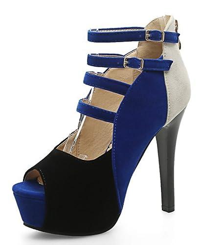 Easemax Damen Sexy Peep-Toe High Heels Plateau Cut Out Stiletto Reißverschluss Sandalen Blau 35 EU cAE3W7M6ej