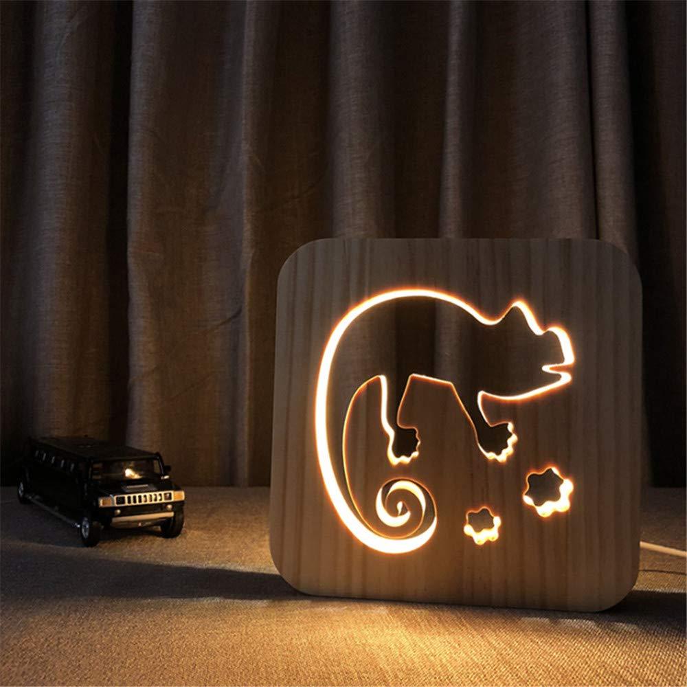 Night Light Kid Led Wooden Button Type 3D Wood Table Lamp USB Warm White, Chameleon