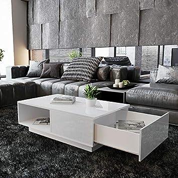 Rangement Blanc Table De Basse 1 Tiroir Moderne Soddyenergy Avec uTlFKJc135