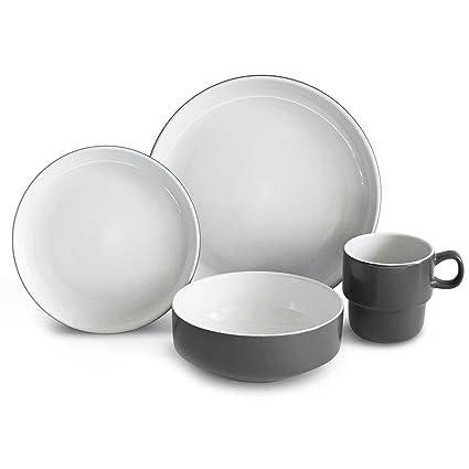 Amazon.com   Baum Stacked 16-Piece Dinnerware Set in Grey ...