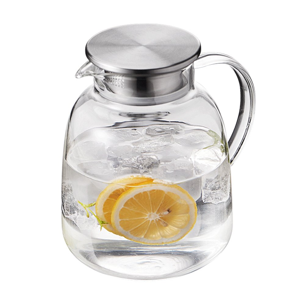 Xiazhi Glass Pitcher With Lid,Water Carafe for Hot/Cold Water, Ice Tea and Juice Beverage (Glass Carafe 1900ml)