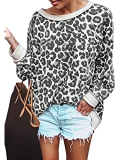 aaf7e5df619b0 Women Sexy Leopard Printed Sweatshirt Ladies Long Sleeve Pullover ...