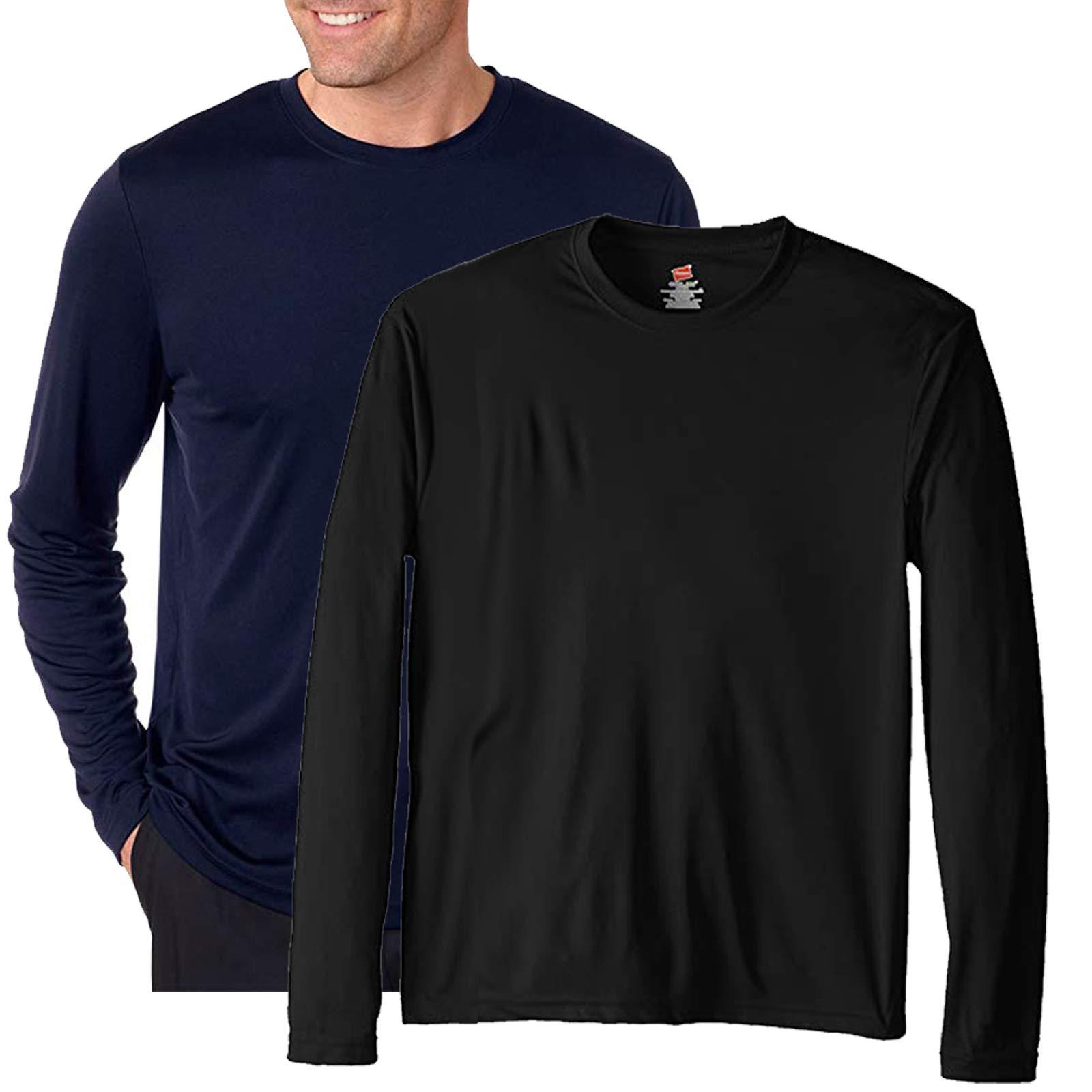 Hanes Performance Men's Long-Sleeve T-Shirt,Navy/Black,XS by Hanes (Image #1)