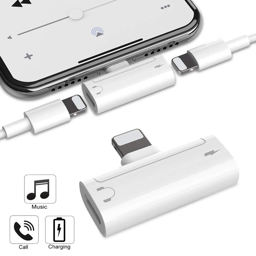 Adaptador de Auriculares para iPhone X AUX Adaptador de Conector de Audio para iPhone XS MAX/X / 8/8 P / 7/7 P [Audio + Carga + Llamada + Control de Volumen] Soporte para Auriculares Todo iOS SSYFEI .