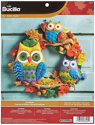 Bucilla Felt Applique Wall Hanging Kit, 17 by 17-Inch, 86562 Owl Wreath (Plaid Owl)