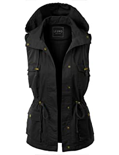 e12007659fc24 Zeagoo Womens Lightweight Sleeveless Military Safari Utililty Anorak ...