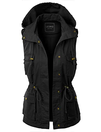 cad85fda02599 LE3NO Womens Drawstring Waist Hoodie Military Anorak Vest with  Pockets