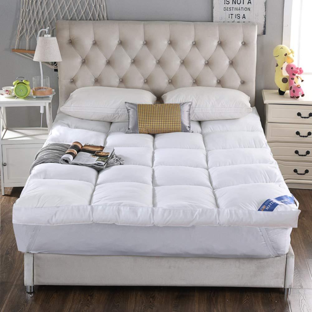布団 パッドを睡眠 マットレス, パッドを睡眠 寝室ベッド パッド マットマット 洗える ノンスリップ アンチ バクテリア-ホワイト B07RXZR8BR