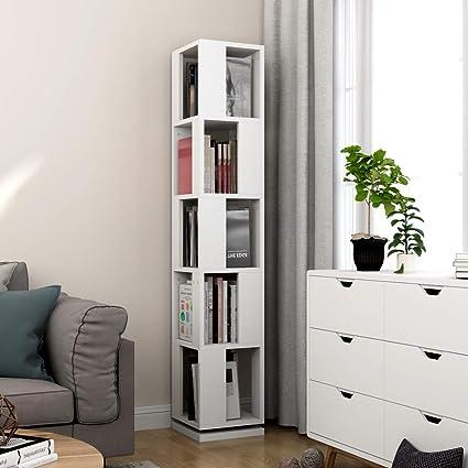 Fantastic Tribesigns 5 Tier Rotating Bookshelf Modern Corner Bookcase For Home Office White Interior Design Ideas Gentotryabchikinfo