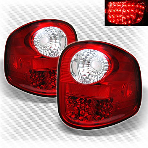 (For 97-03 Ford F150 Flareside LED Red Clear Tail Lights Rear Brake Lamps Pair Left+Right)